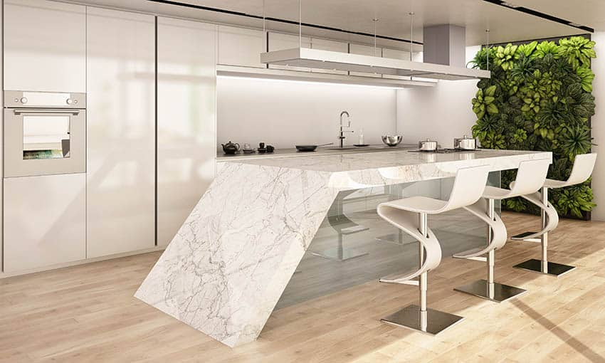 Kitchen island with sintered stone countertop