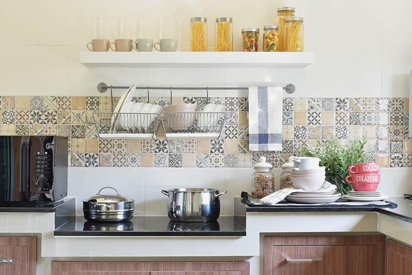 Kitchen with colorful ceramic tile backsplash