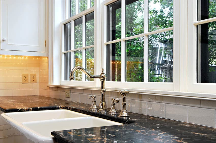 Kitchen with double basin farmhouse sink