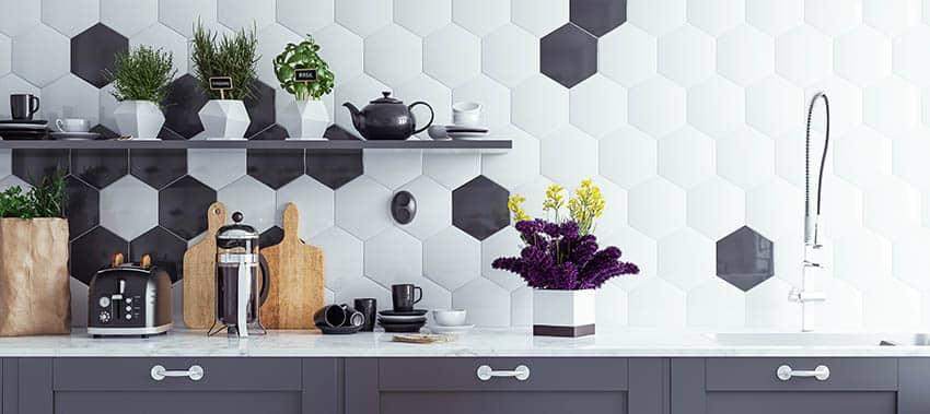 Kitchen with hexagon tile backsplash