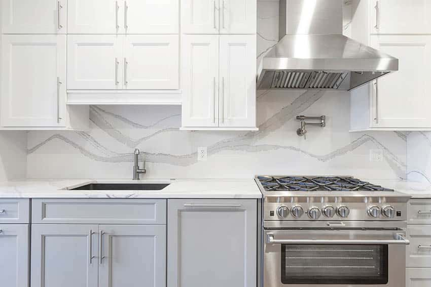 Kitchen with shaker style cabinets with inner router details