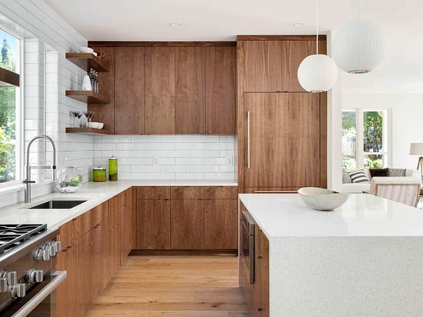 Kitchen with up the wall large rectangular subway tile backsplash