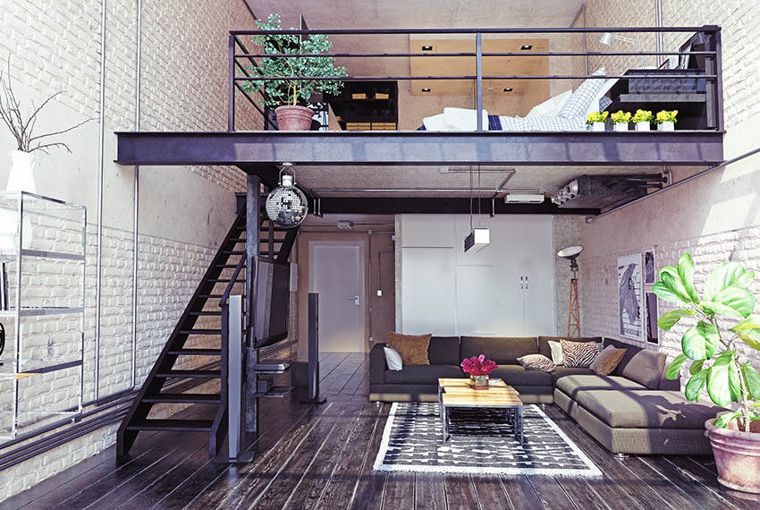 Loft stairs to upstairs bedroom