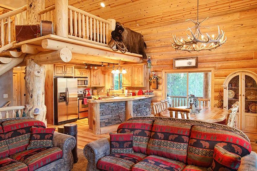 Log home living room with loft