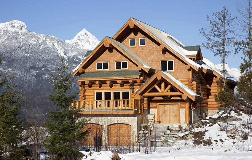 Log style home in mountains