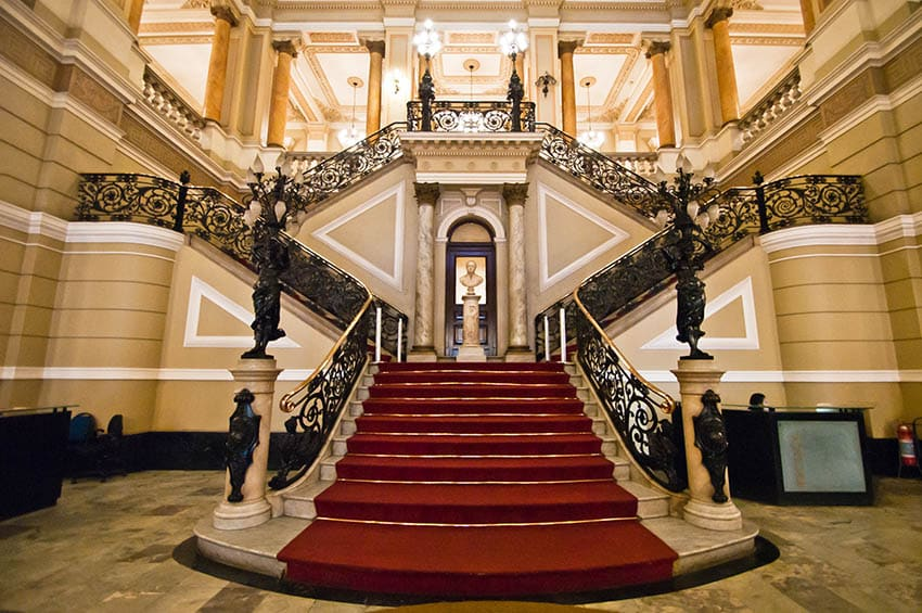 Luxury staircase with wide stairs
