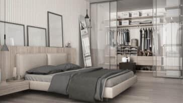 Mens bedroom with glass door closet