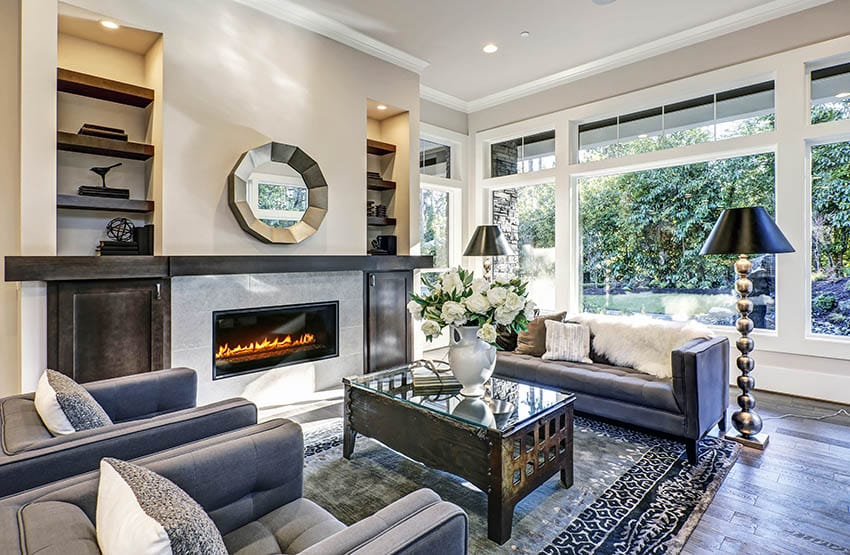 Modern fireplace with long wood mantel built in shelving