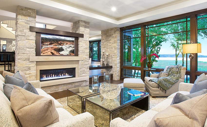 Modern floating fireplace mantel with tv