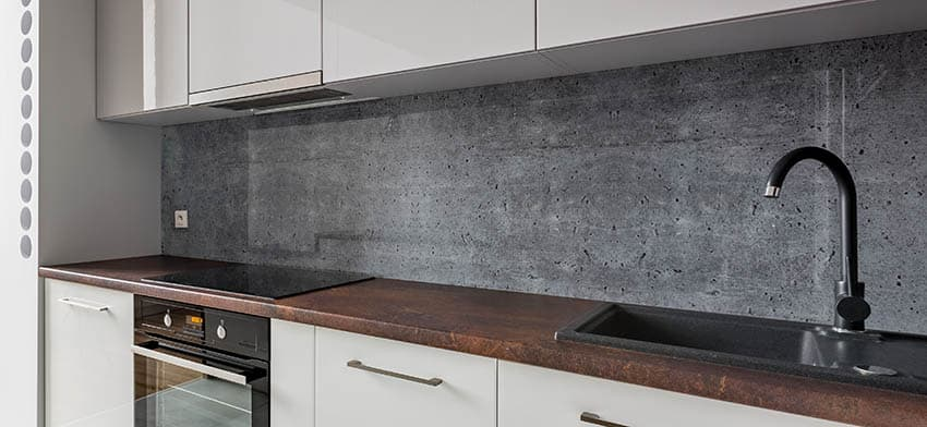 Modern kitchen concrete backsplash brown stained concrete countertops
