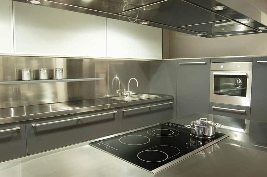 Modern kitchen stainless steel backsplash and countertops