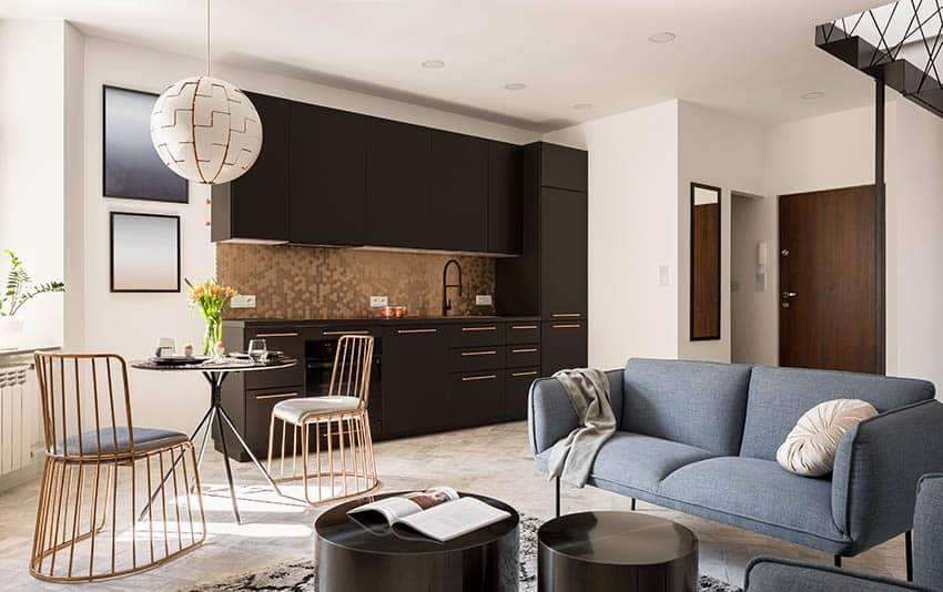 Modern kitchen with gold faux metal backsplash black cabinets