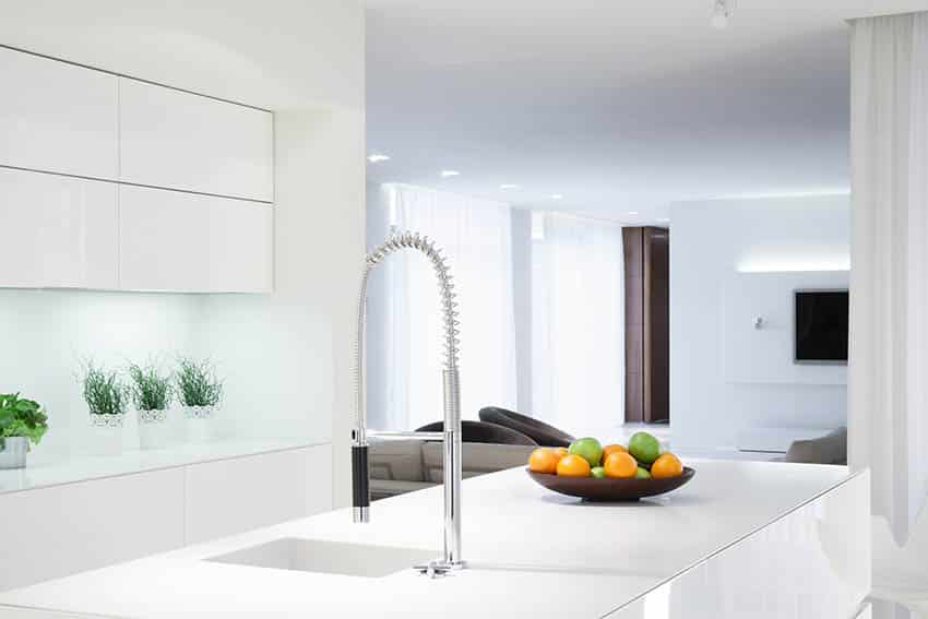 Modern kitchen with touch faucet and pull down sprayer