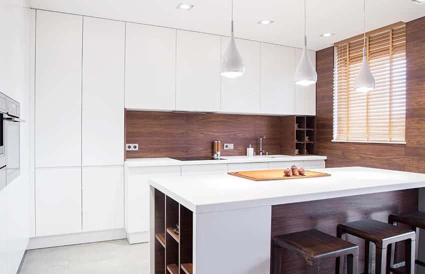 Modern kitchen with wood backsplash white cabinets pendant lights
