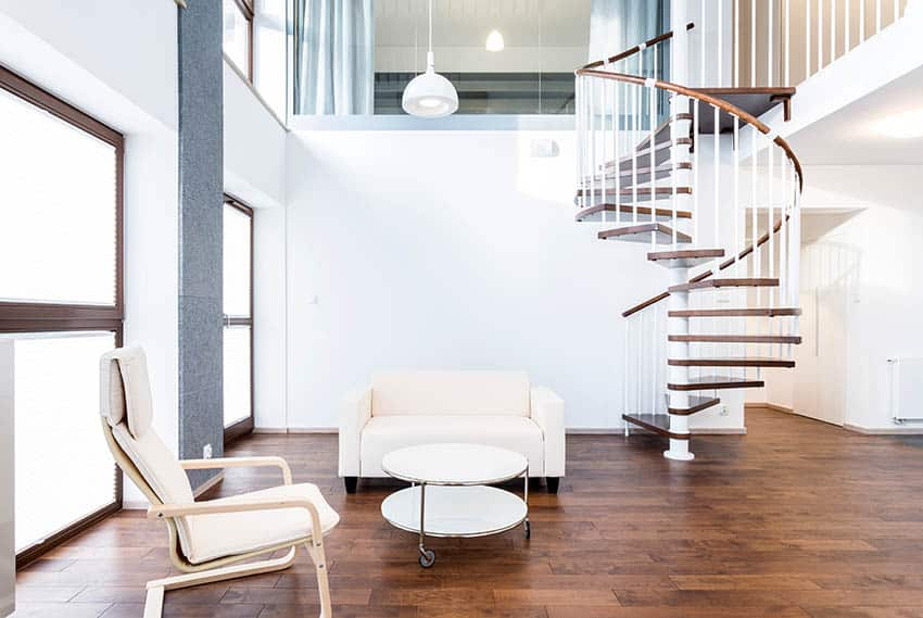 Modern living room with spiral stairs