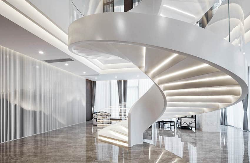 Modern stairs with lighted steps concrete flooring
