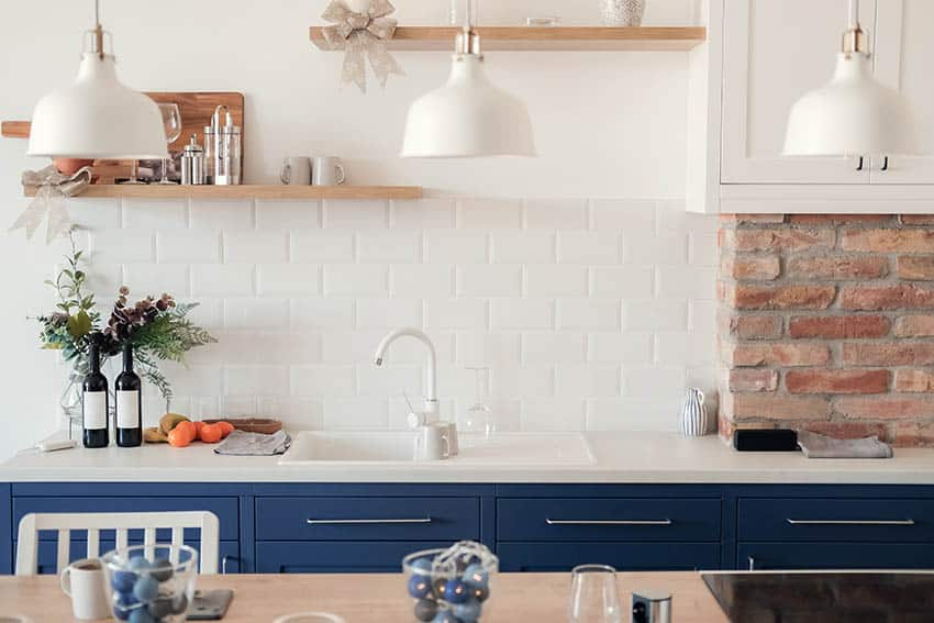 Peel and stick kitchen subway tile backsplash