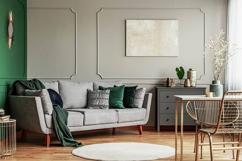 Platinum gray paint living room with wood floor