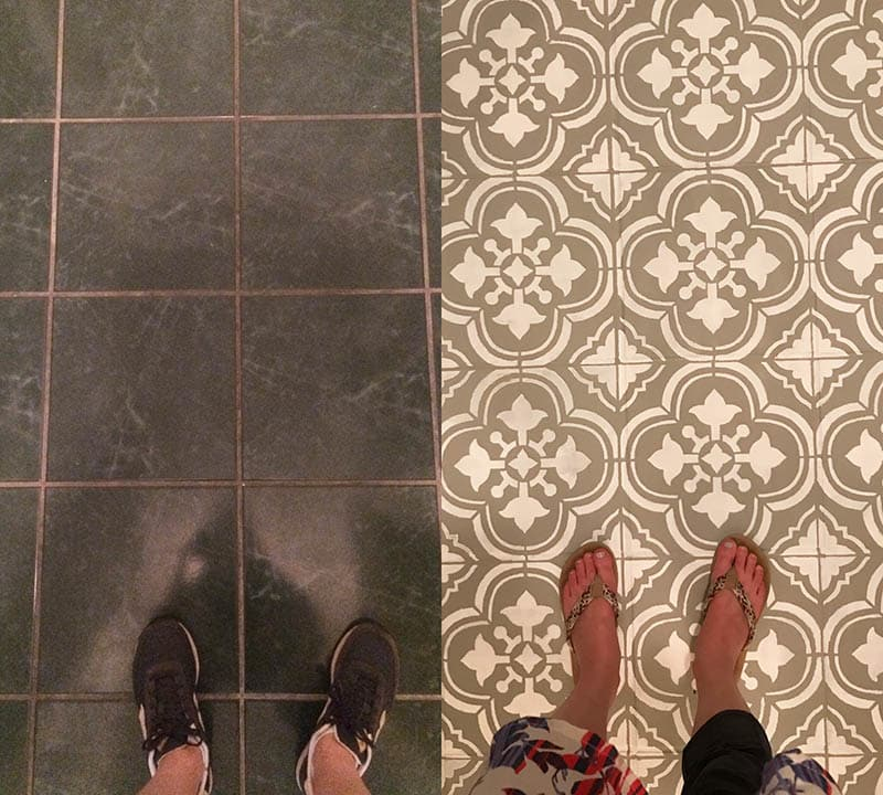 Using stencil to paint floor tile