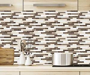 Vinyl peel and stick backsplash tile with mosaic design
