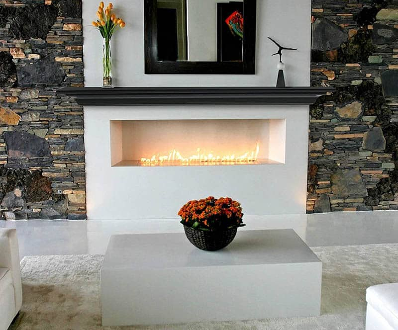 White fireplace with modern floating mantel
