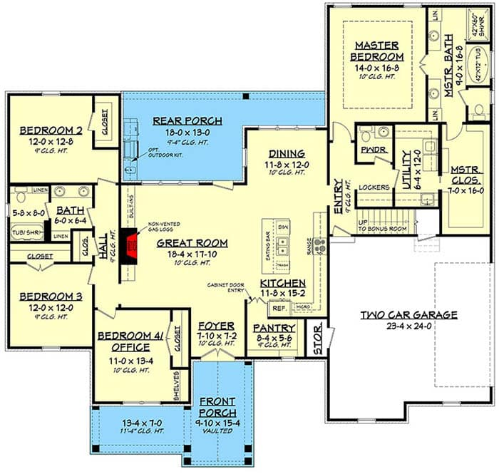 4 bedroom modern country house plan