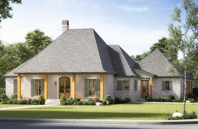 Acadian house with hipped roof front porch