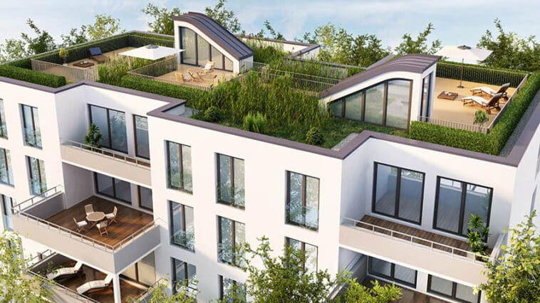 Apartment building with green roof