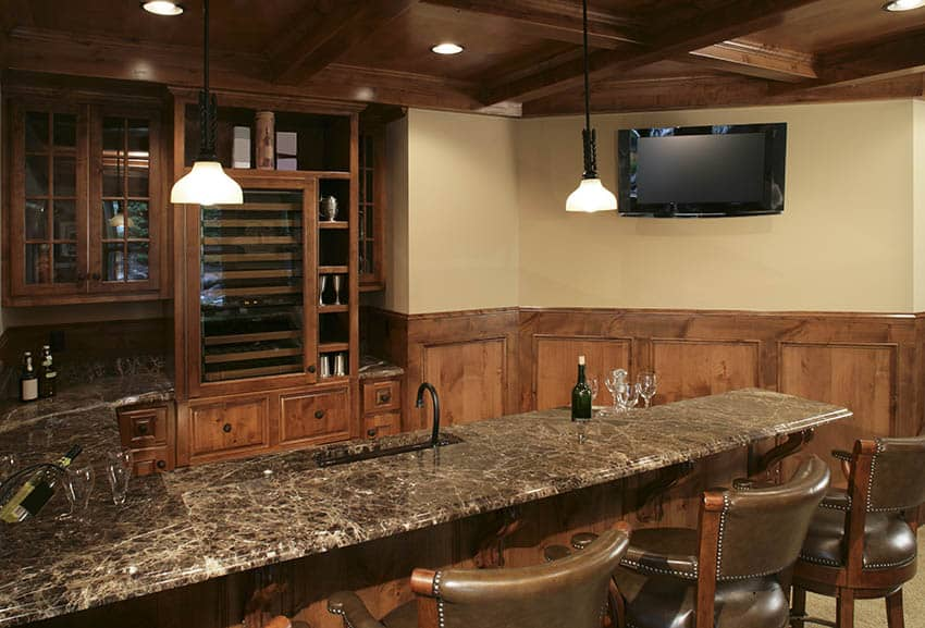 Basement wet bar with granite countertop solid wood cabinets