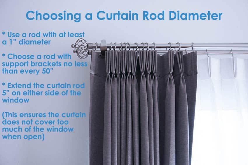 Choosing a curtain rod diameter
