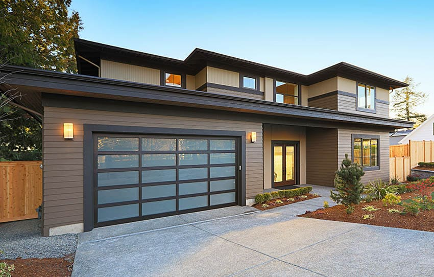 Contemporary house with engineered wood siding