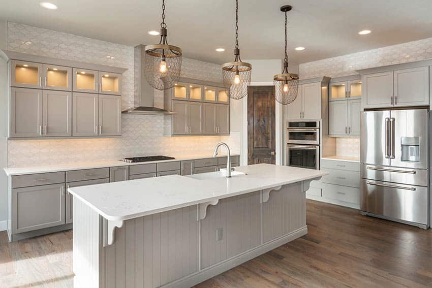 Contemporary kitchen with specialty shaped lantern design tile backsplash gray cabinets