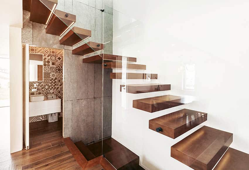 Floating stairs with wood steps glass wall