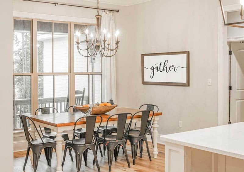 House plan dining room with chandelier