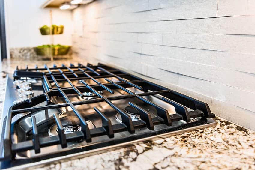 Kitchen with 3d tile backsplash