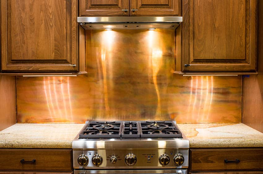 Kitchen with copper backsplash solid wood cabinets