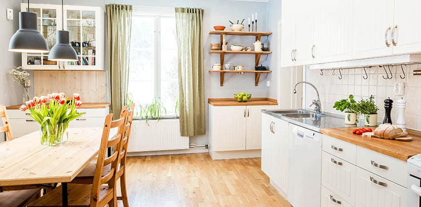 Kitchen with hidden tab curtains