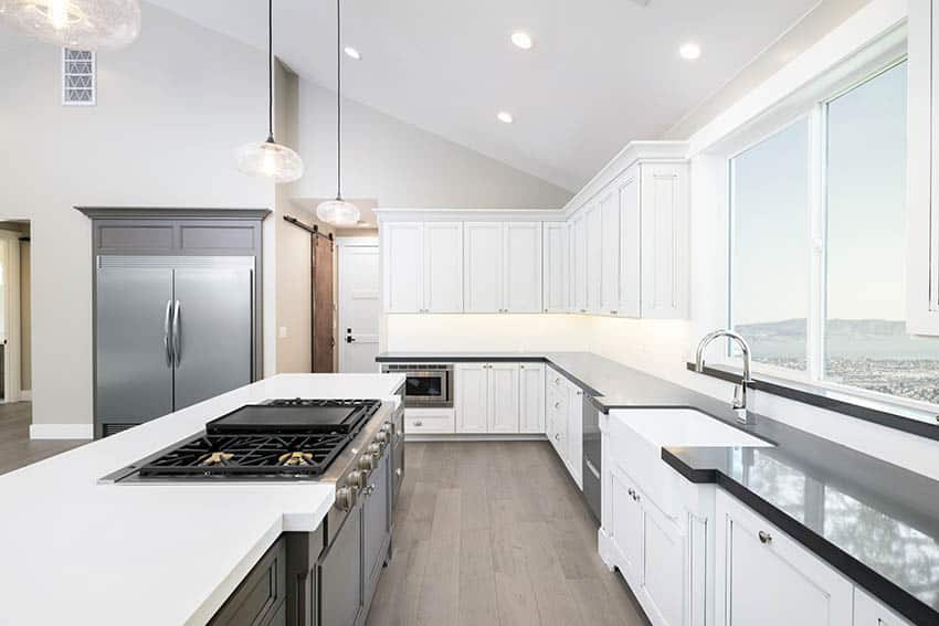 L shaped kitchen design with island two tone cabinets
