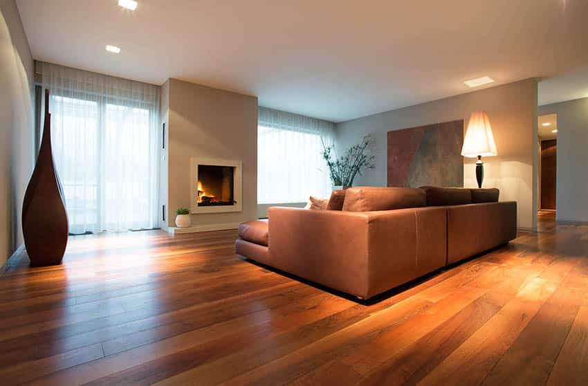 Living room with cherry wood floors light gray paint