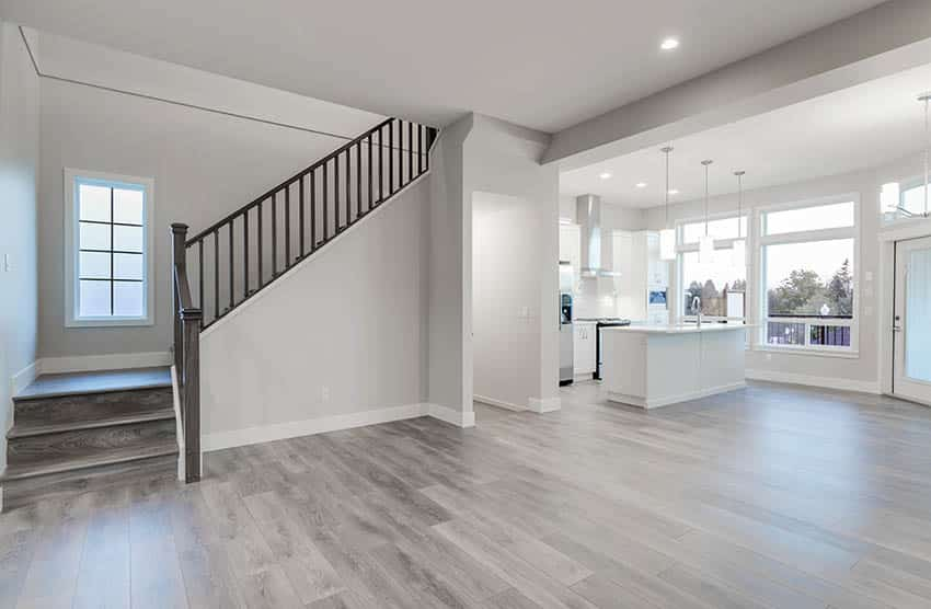 Living room with grey laminate floors