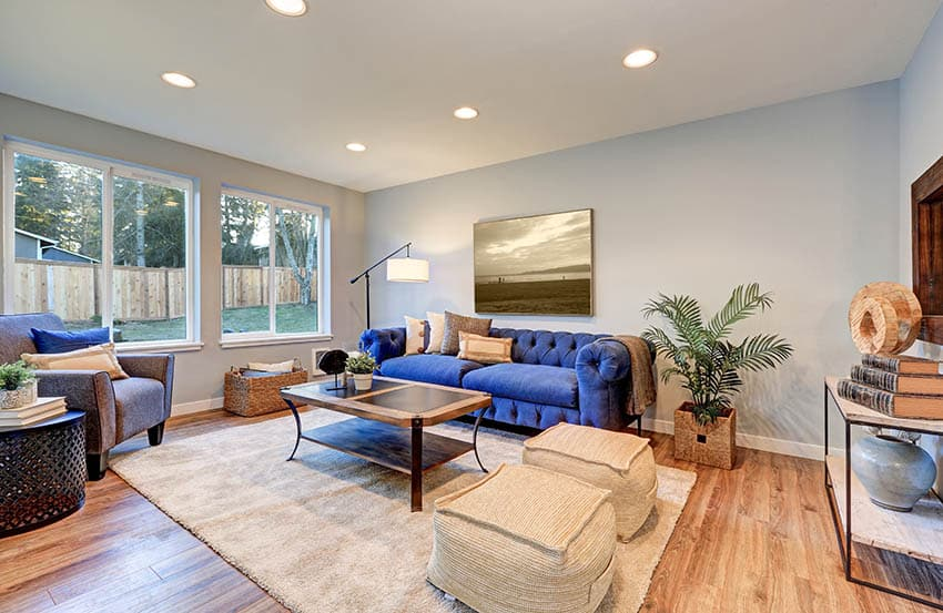 Living room with light blue paint and beige accent wall with wood floors