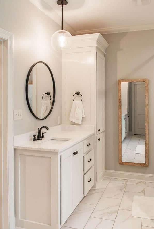 Master bathroom vanity with cabinet circular mirror