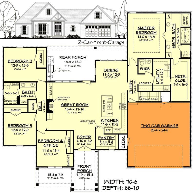 Modern french country house floor plan with garage add on