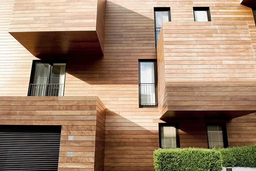 Modern house with engineered wood siding