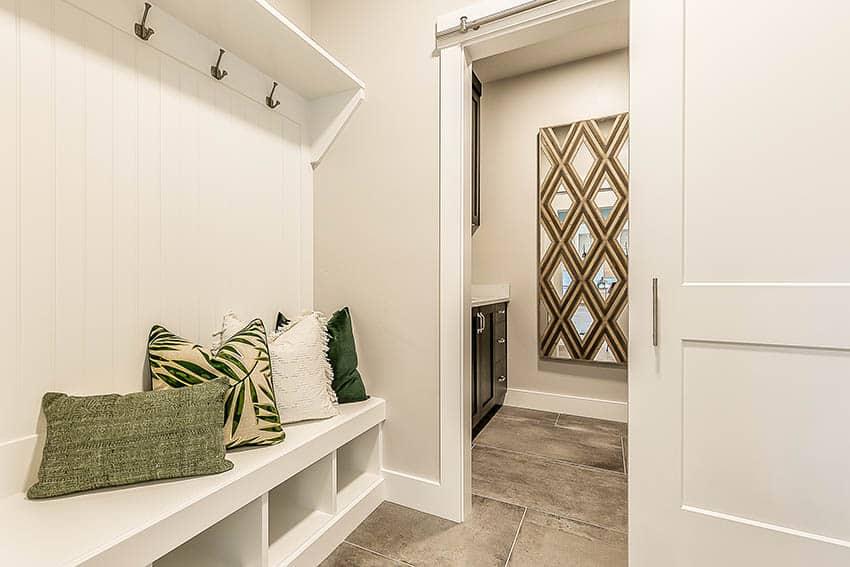Mudroom addition design with half bathroom