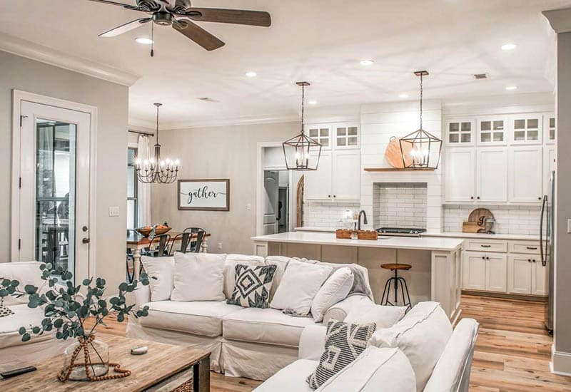 Open concept house plan with living room kitchen