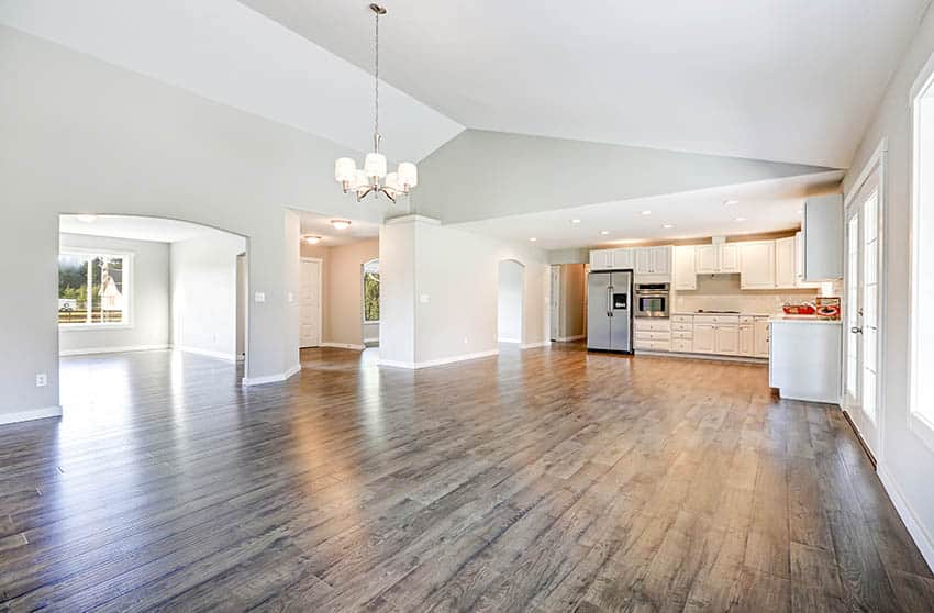 Open concept living room with laminate flooring