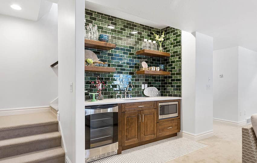 Small basement wet bar with microwave and wine fridge