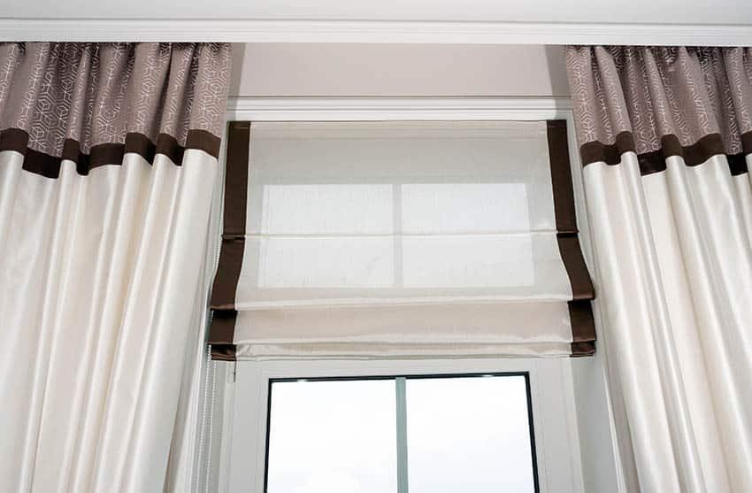 Transom window roman curtains