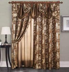 Window curtain set with valance
